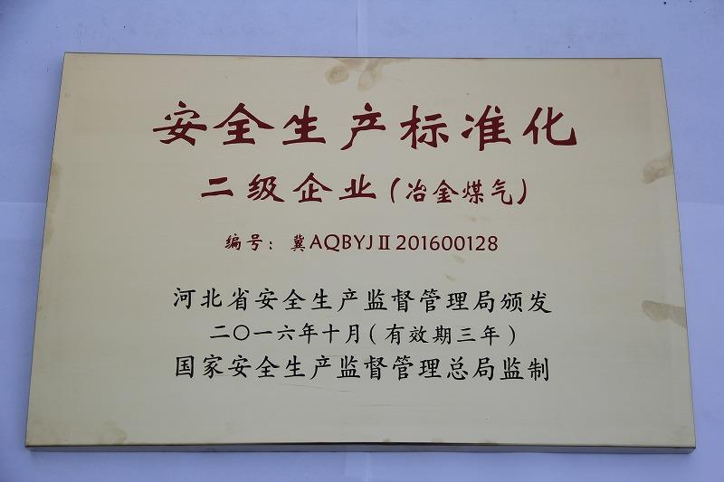 16年 安全生产标准化 二级企业(煤气)